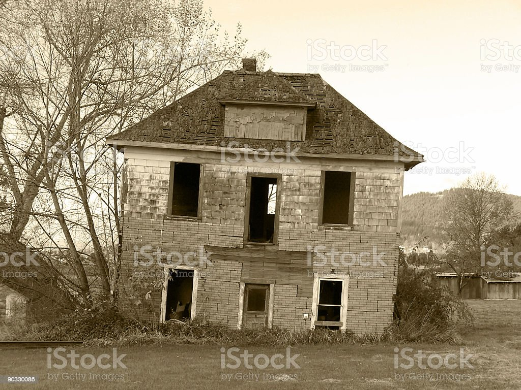 Creepy Tilting House royalty-free stock photo