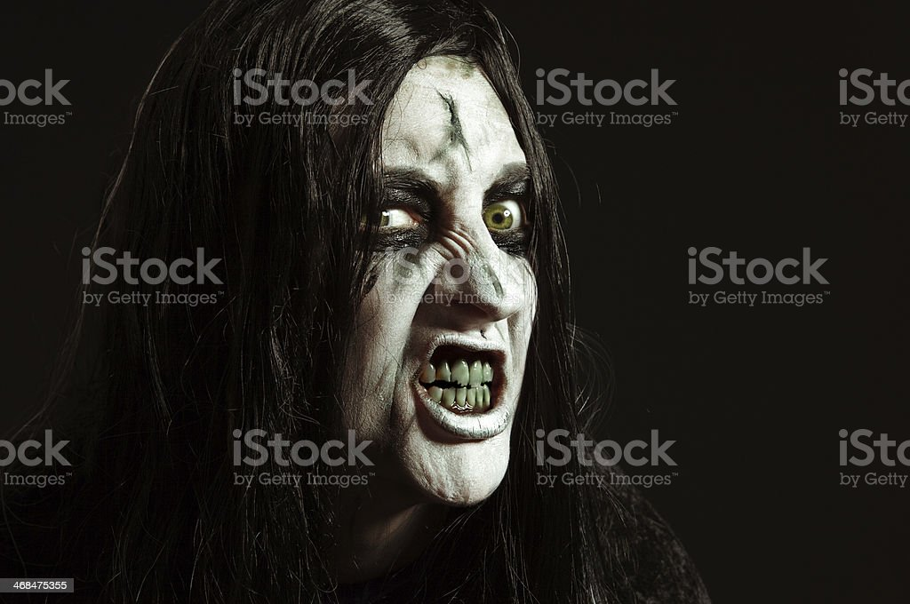 Creepy Witch Face stock photo