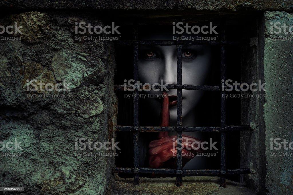 Creepy woman stock photo