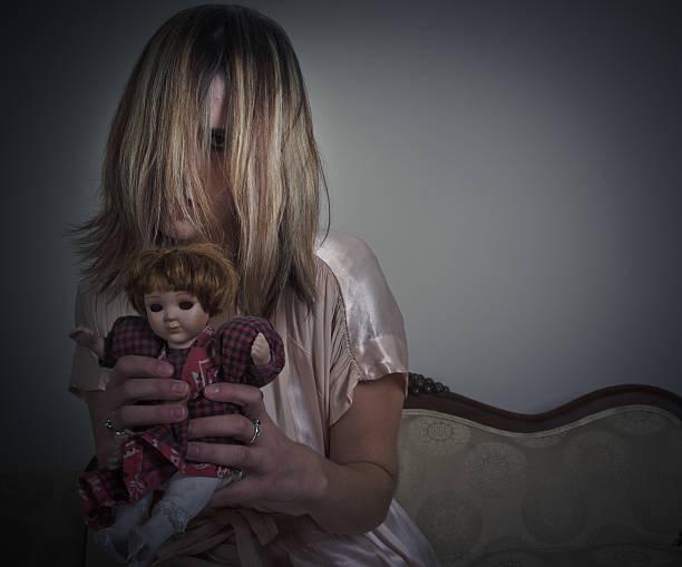 Creepy Young Girl stock photo