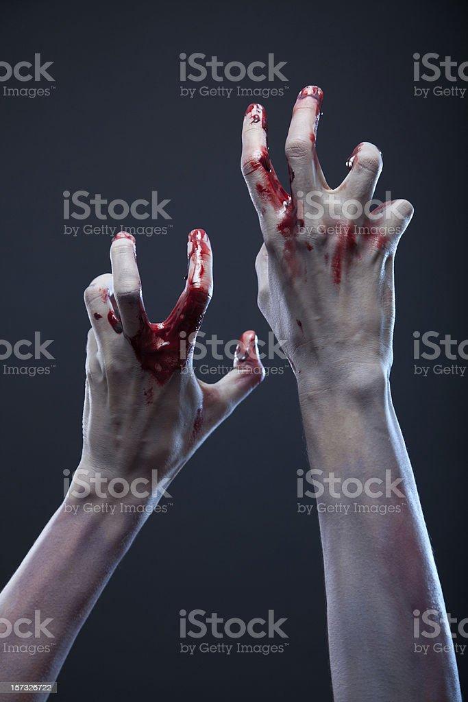 Gruselig zombie Hände, extreme body-art – Foto