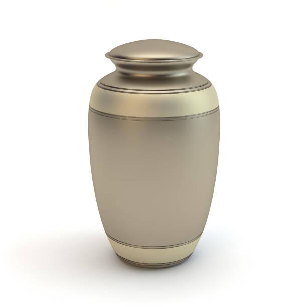 Einäscherung Urne isoliert auf weißem Hintergrund – Foto