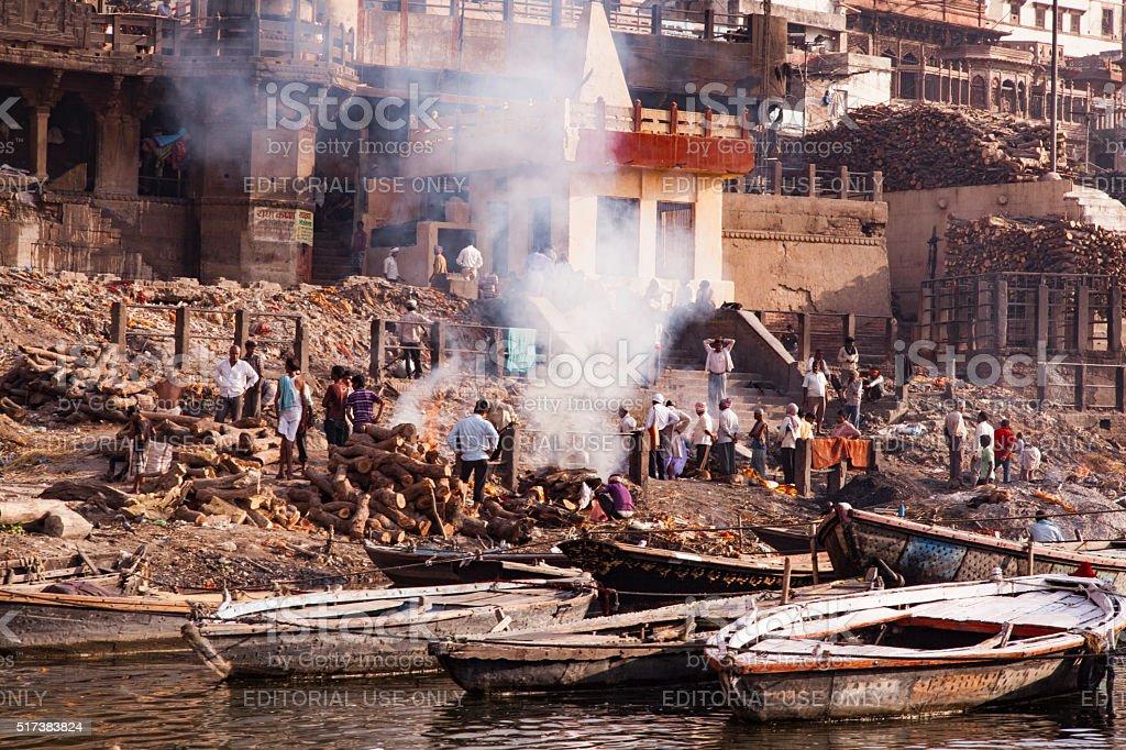 Cremations in Varanasi stock photo