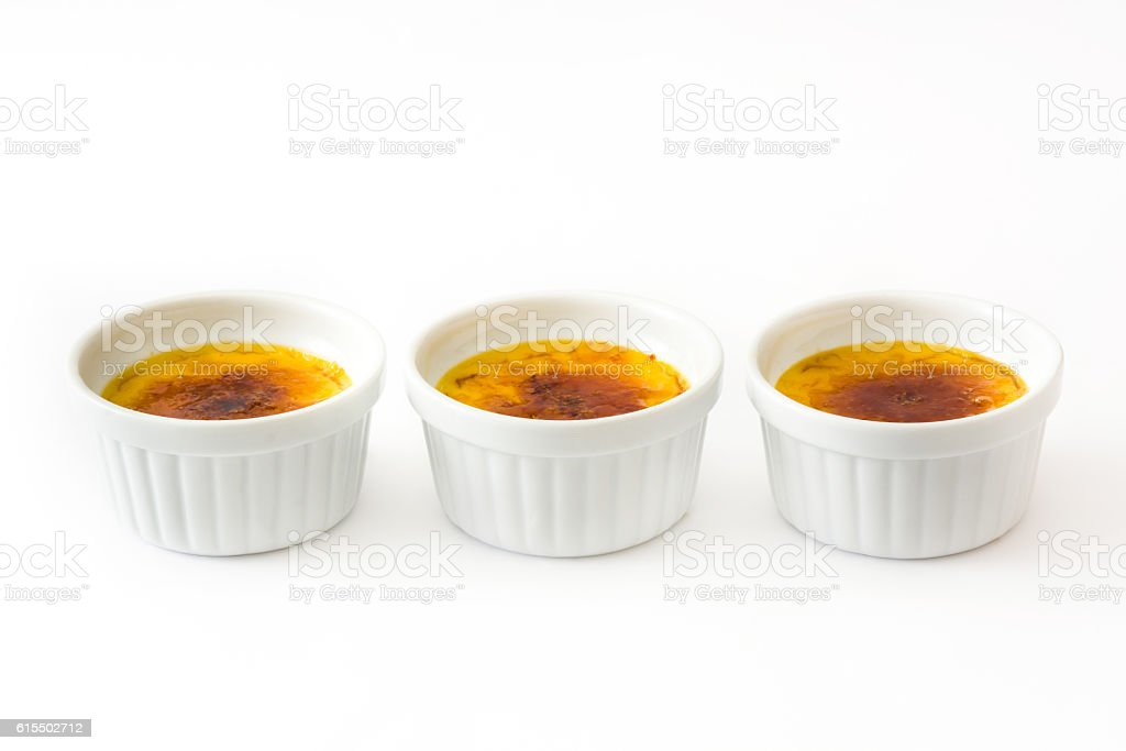 Creme brulee and blowtorch stock photo