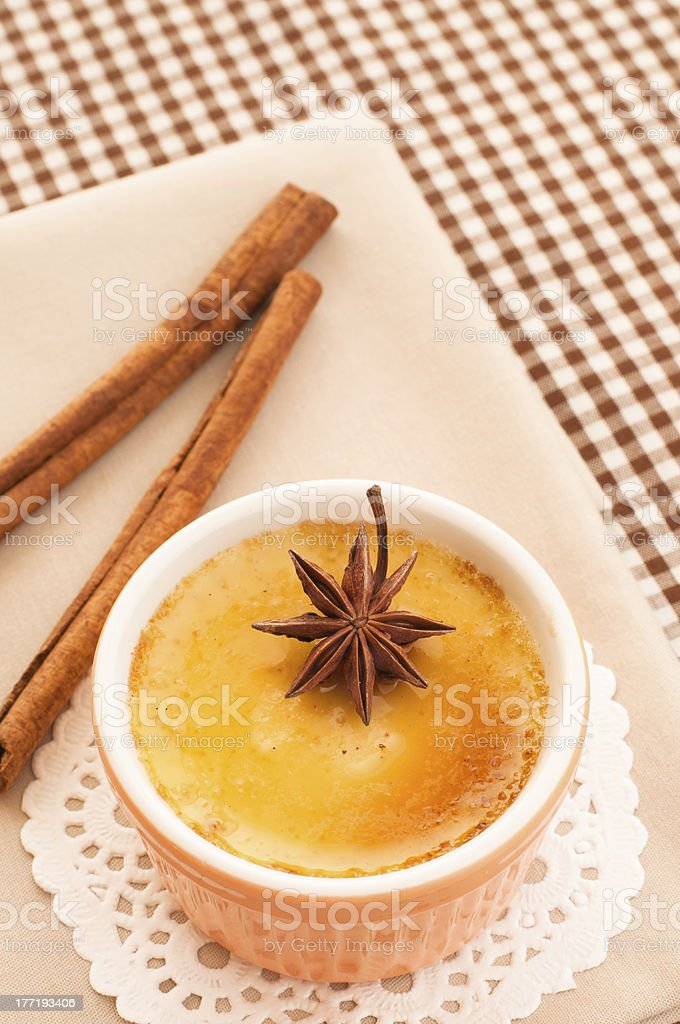 Creme brulee dessert royalty-free stock photo