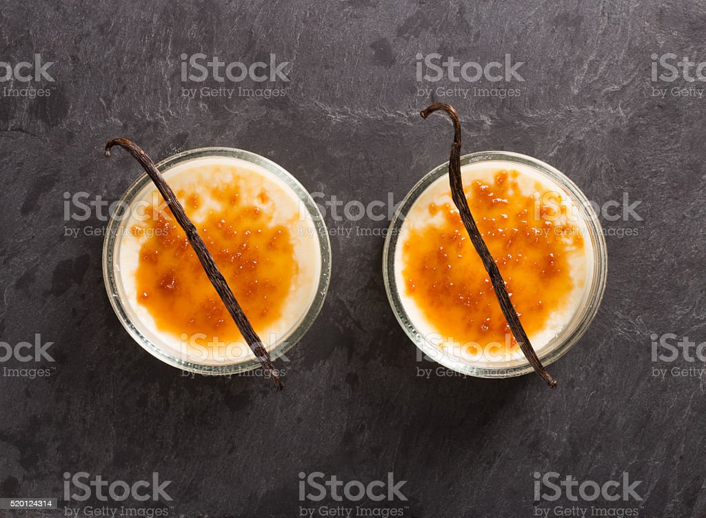 creme brulee ( cream caramel ) stock photo