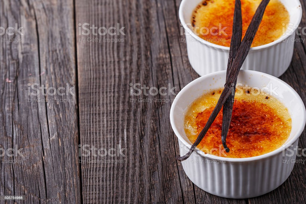 Creme brulee - traditional french vanilla cream dessert. stock photo