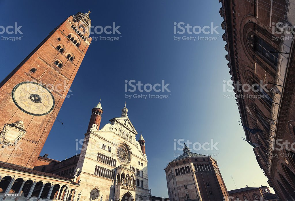 Cremona Church and Clock Tower, Italy stock photo