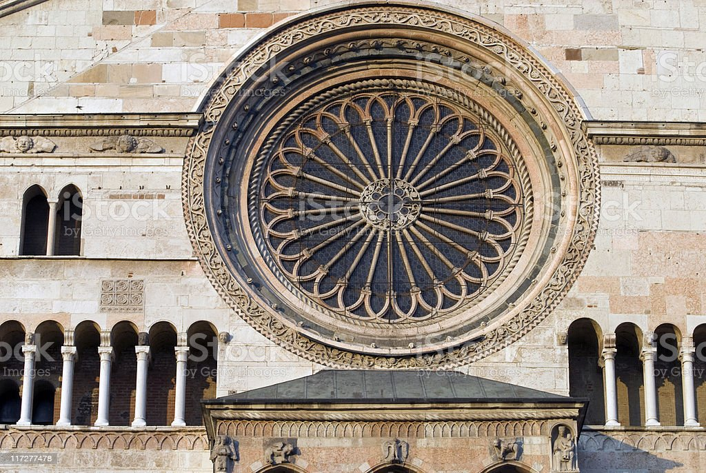 Cremona (Lombardy, Italy), rose window on the Cathedral facade royalty-free stock photo