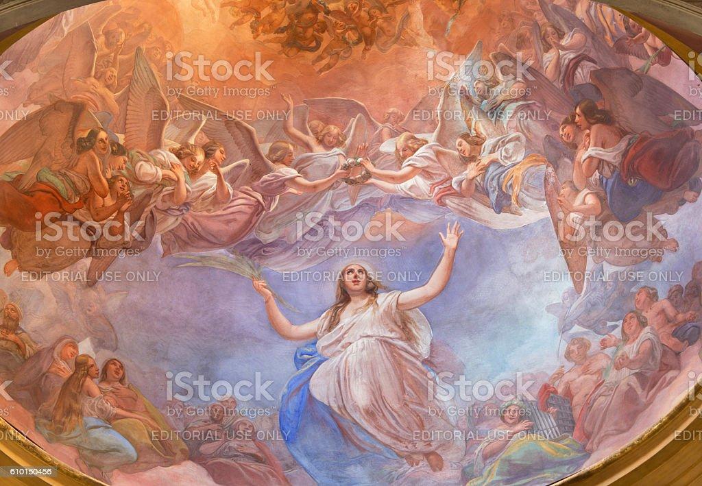 Cremona - The Apotheosis of St. Agata fresco stock photo