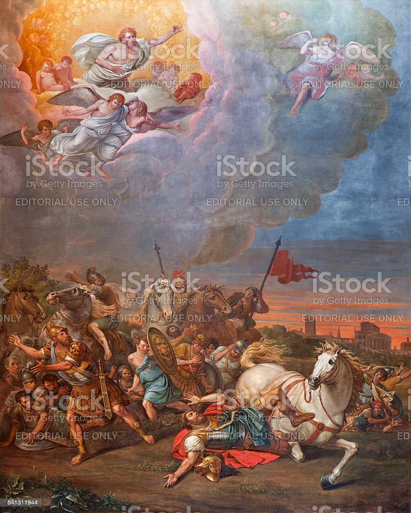 Cremona - The Conversion of St. Paul fresco in Cathedral stock photo