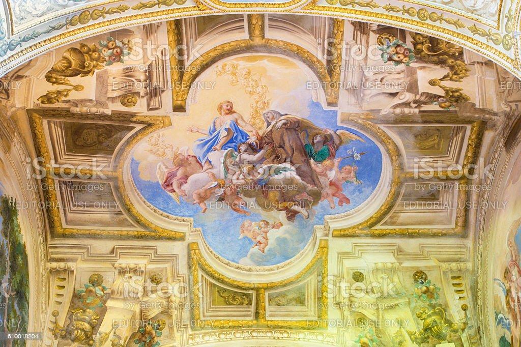 Cremona - The fresco of Apotheosis of st. Theresia stock photo