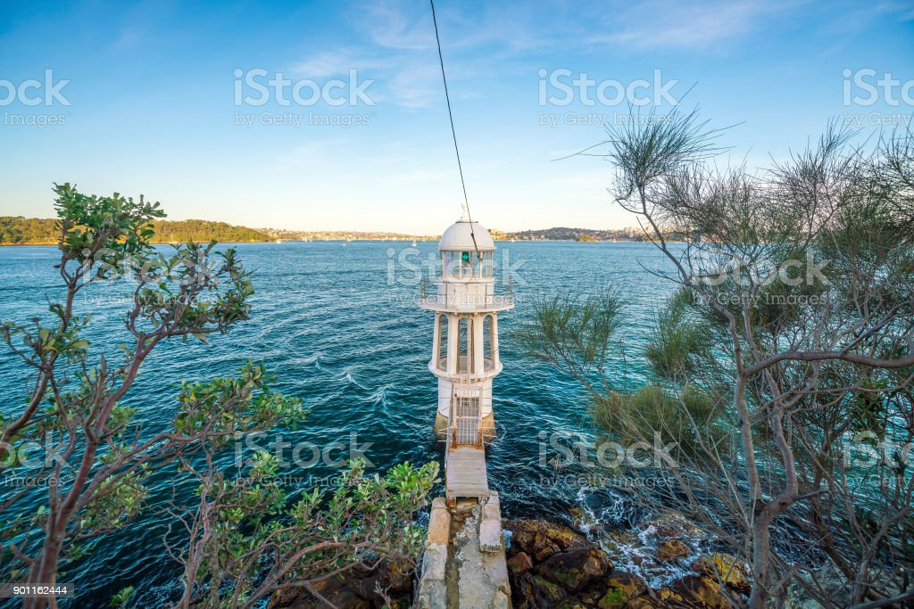 Cremorne Point Lighthouse on Sydney Harbour stock photo