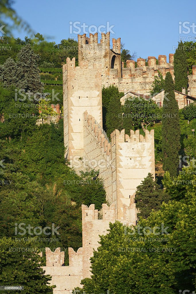 Crenellated walls and tower of Soave Castle, Verona (Italy) royalty-free stock photo