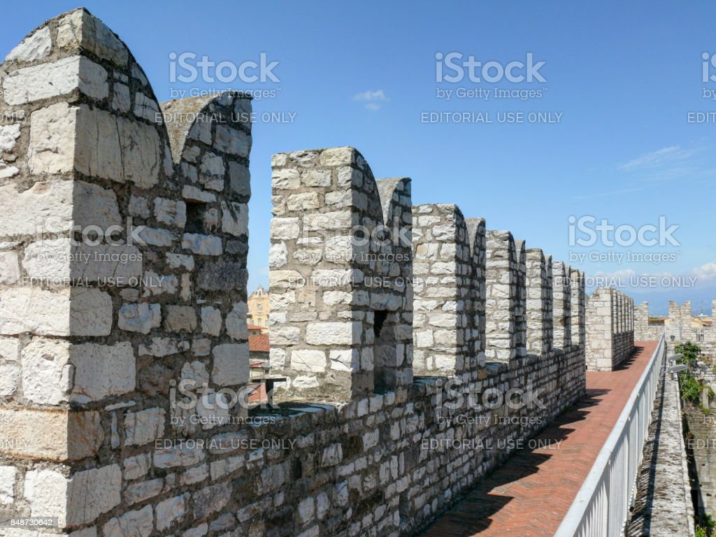 Crenellated walls of Emperor's Castle stock photo