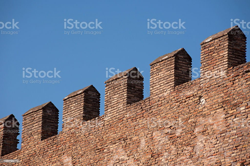Crenellations of ancient wall in Rome, Italy stock photo