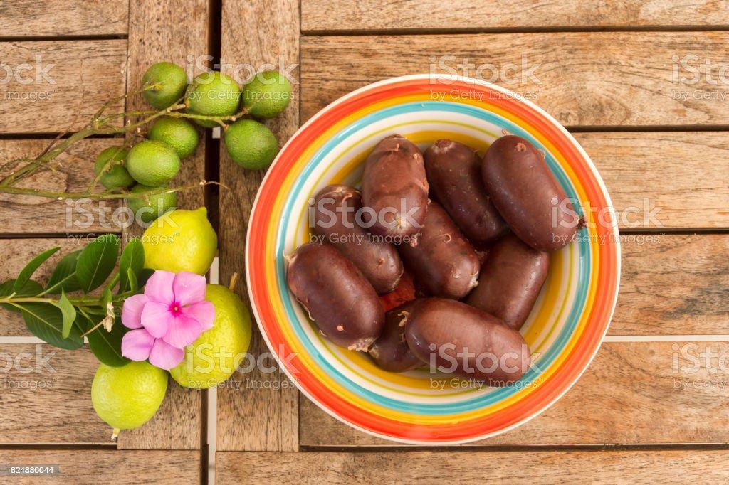 Creole Black Pudding in Martinique stock photo
