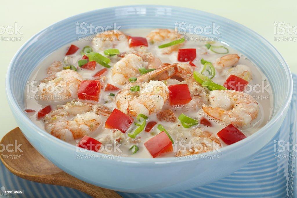 Creole Coconut Prawn Soup Caribbean Food stock photo