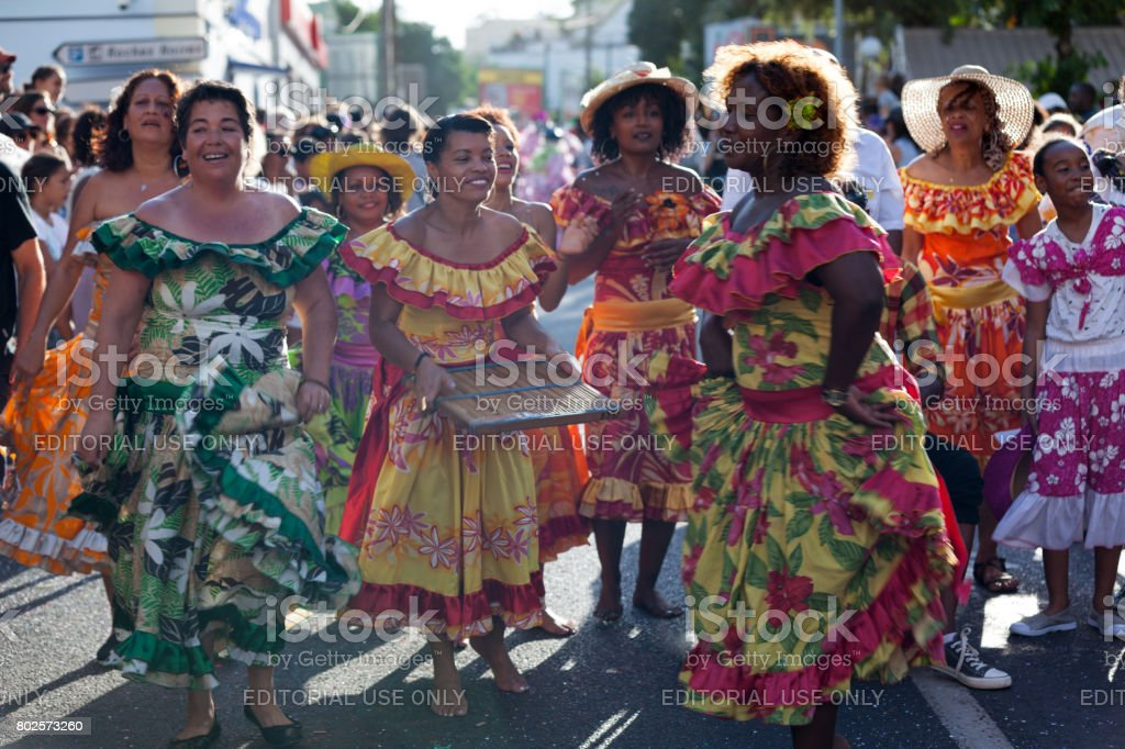 Creole dancers at the carnival of the Grand Boucan stock photo
