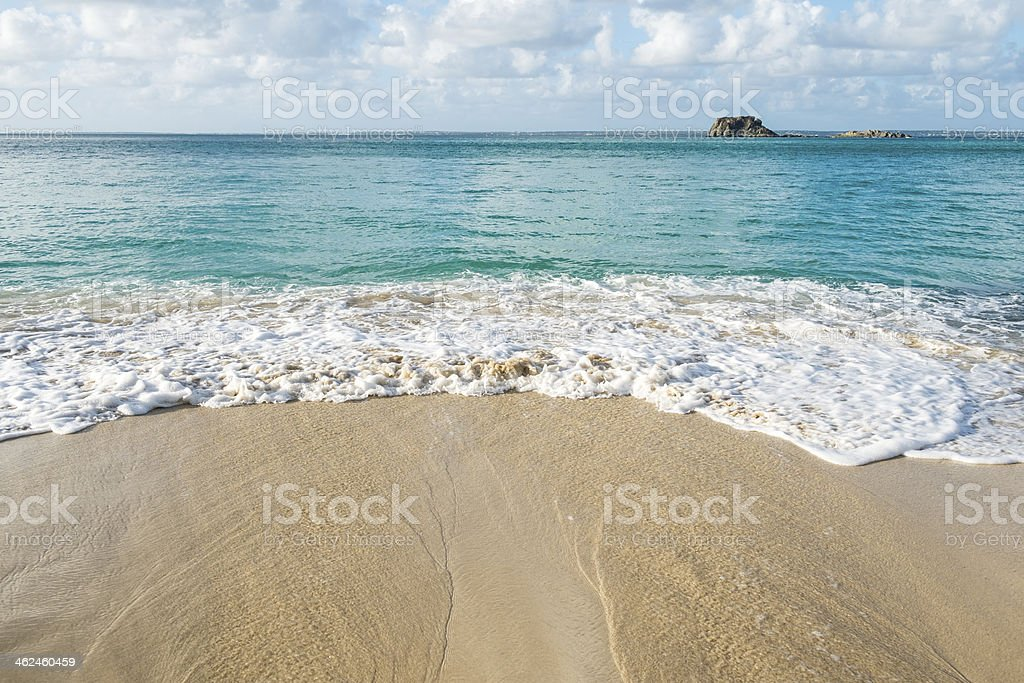 Creole Rock Seen from Grand Case Beach stock photo