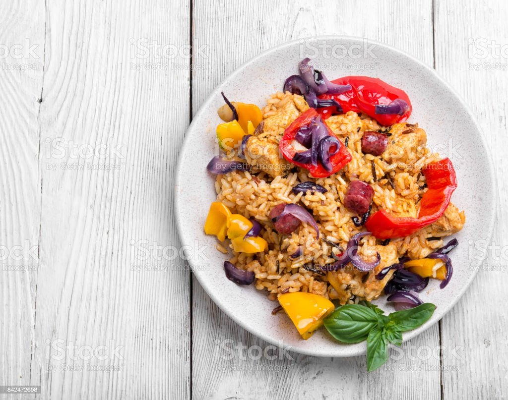 Creole spicy Jambalaya stock photo