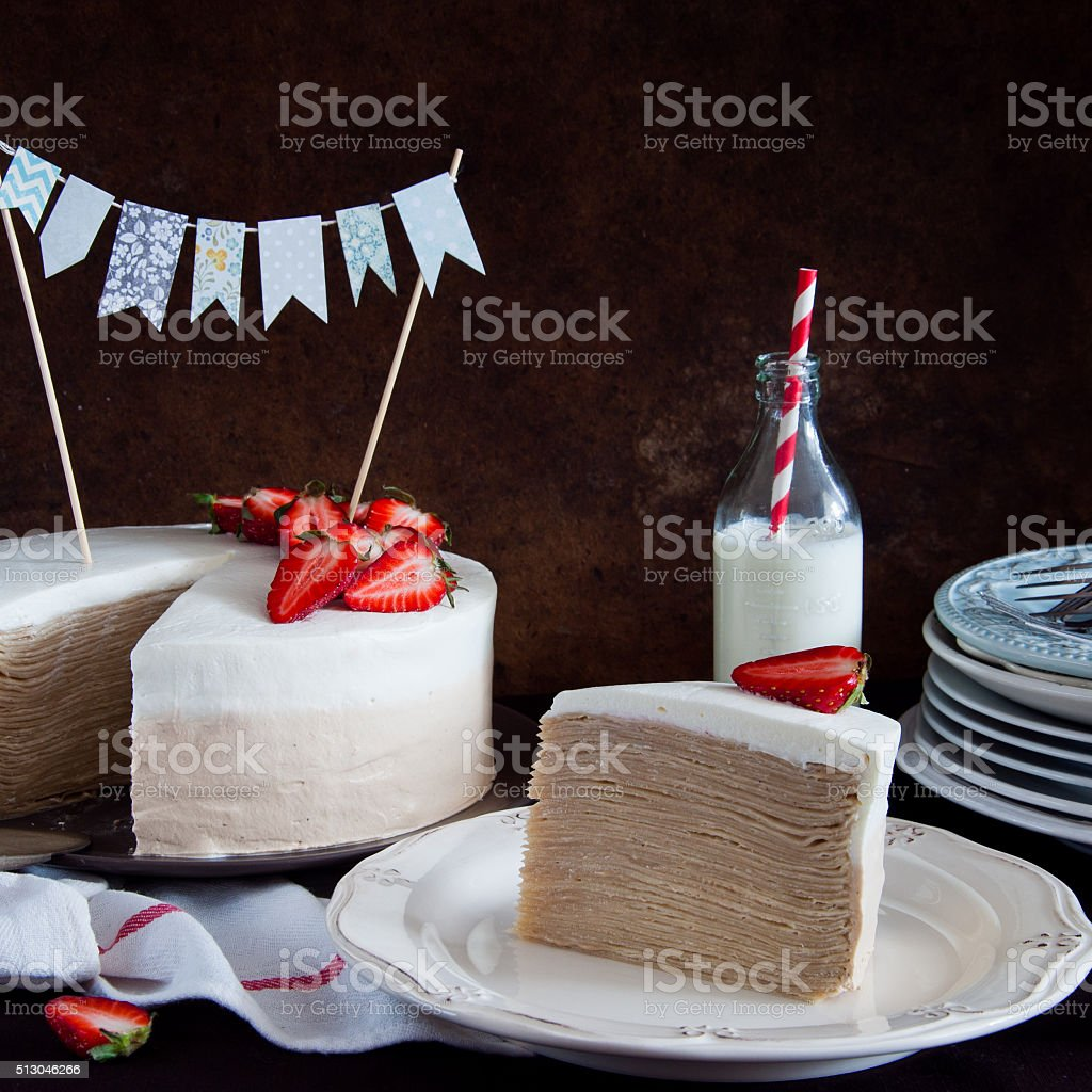 Crepe Cake Napoleon With Strawberries Stock Photo More Pictures Of