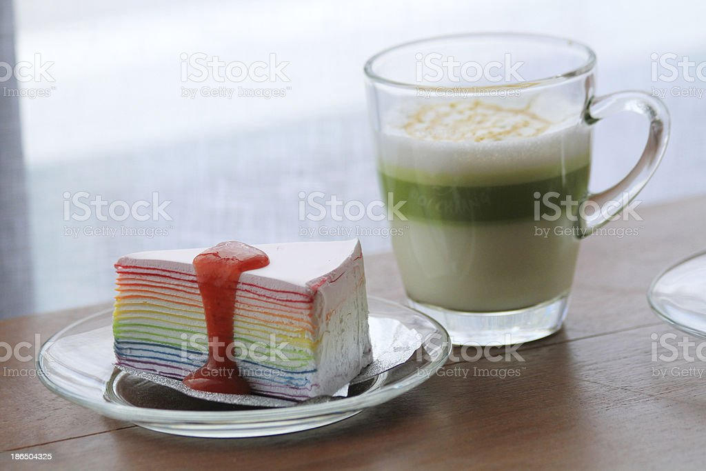 Crepe Cake with tea royalty-free stock photo