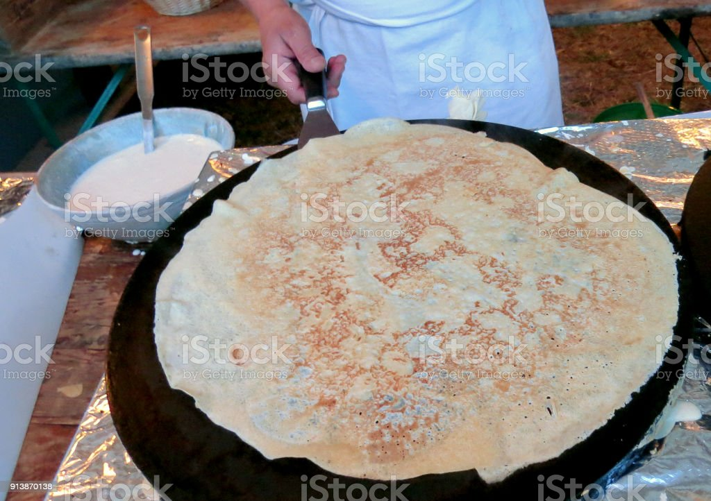 Crepe in large pan stock photo