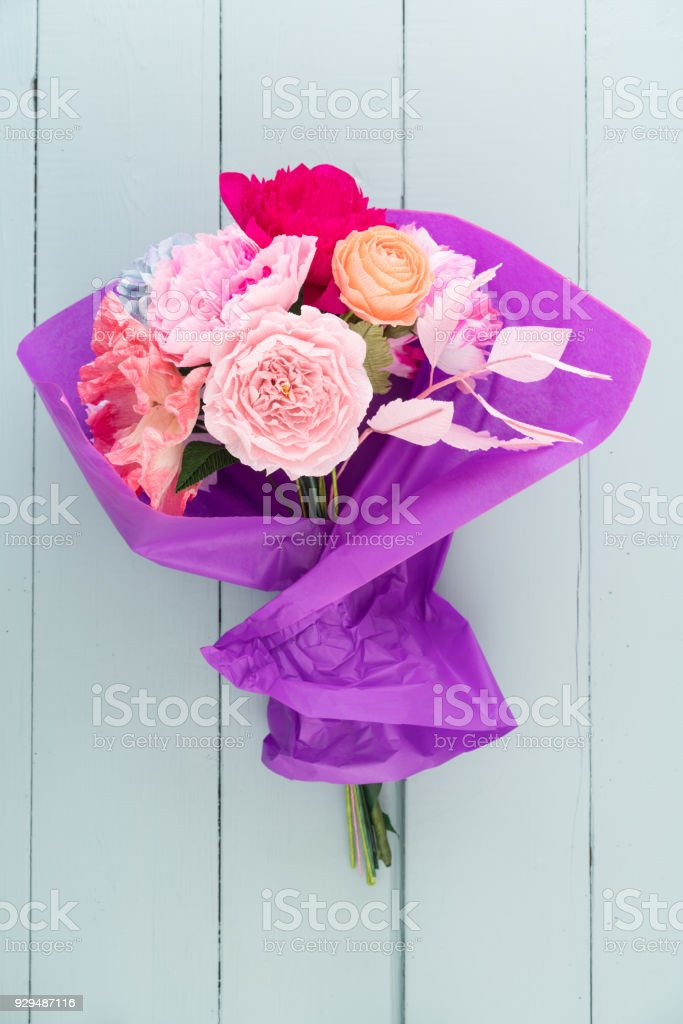 Crepe Paper Flower Bouquet Stock Photo More Pictures Of Birthday