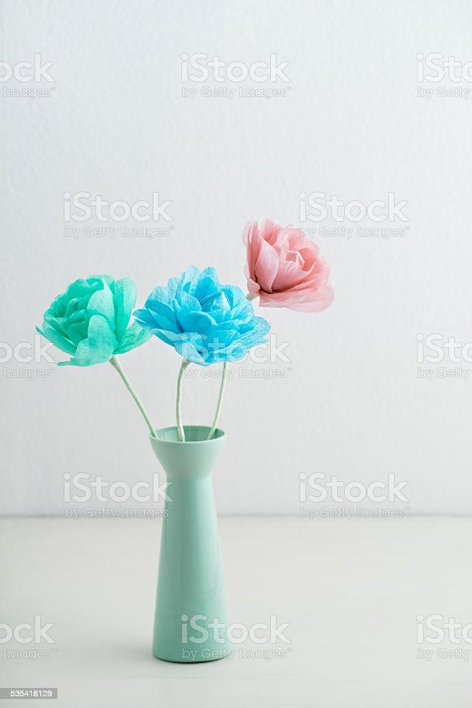 Crepe paper flowers stock photo