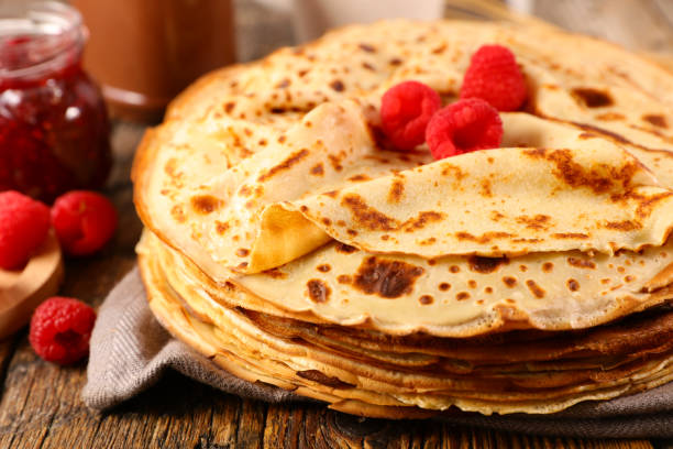 crepe with chocolate and berry stock photo