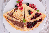 crepe with chocolate and jam