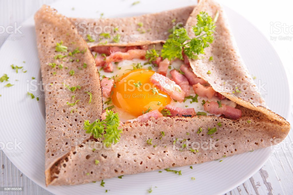 crepe with egg and bacon stock photo
