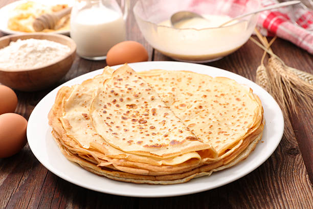 crepe with ingredient - crepe bildbanksfoton och bilder