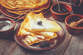 istock Crepes are homemade. Pancakes. Selective focus. Food 1067859420