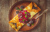 istock Crepes are homemade. Pancakes. Selective focus. Food 1067860590