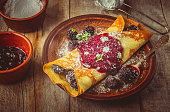 istock Crepes are homemade. Pancakes. Selective focus. Food 1067860606