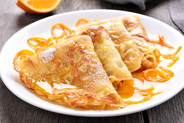crepes suzette, close up view - crepe bildbanksfoton och bilder