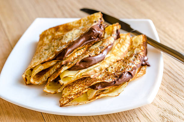 crepes with chocolate cream - crepe bildbanksfoton och bilder