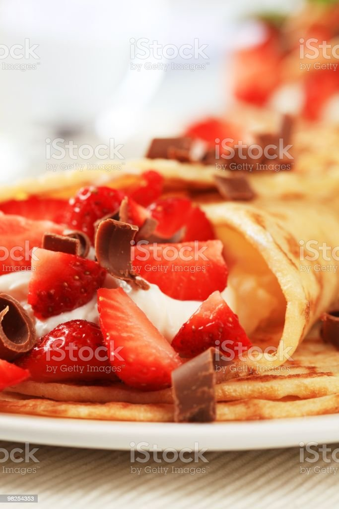 Crepes con fragole foto stock royalty-free