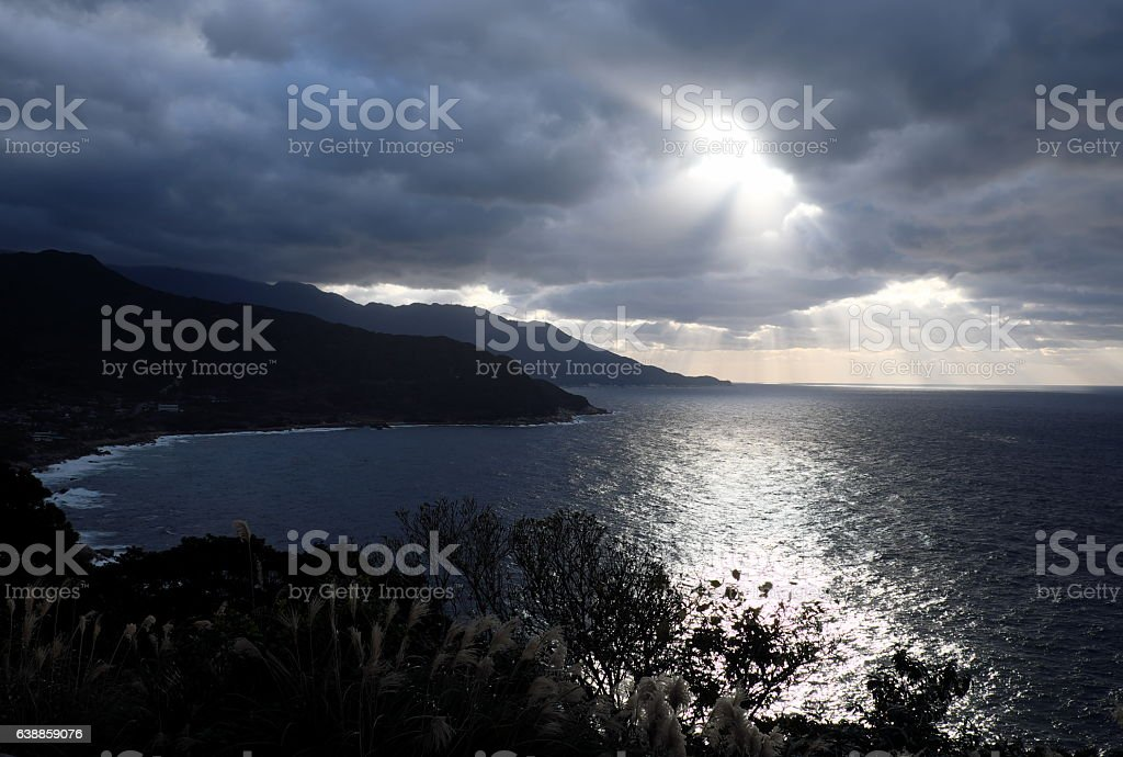 Crepuscular rays stock photo