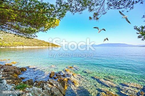 istock Cres Island, Croatia: View from beach promenade to adriatic sea 500881150