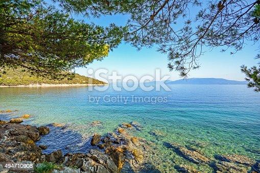 istock Cres Island, Croatia: View from beach promenade to the sea 494710908