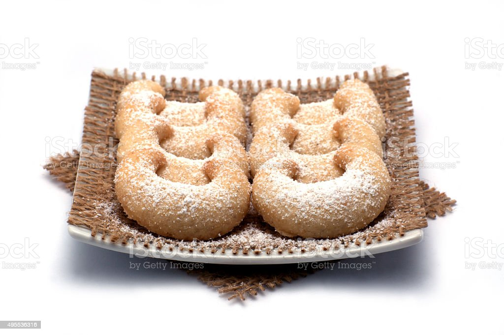 Crescend-shaped vanilla biscuits cut out stock photo