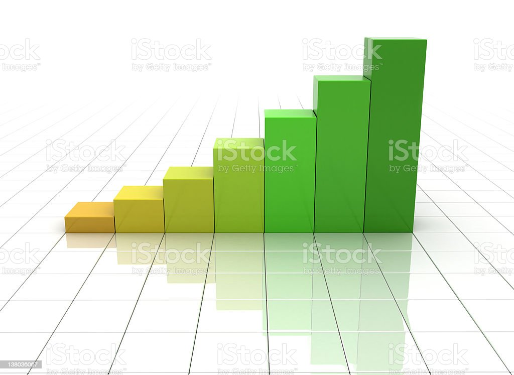 Crescent 3D bar graphs in tones of green royalty-free stock photo