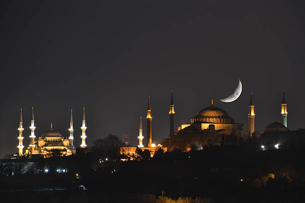 crescent and hagia sophia - ramadan stock photos and pictures