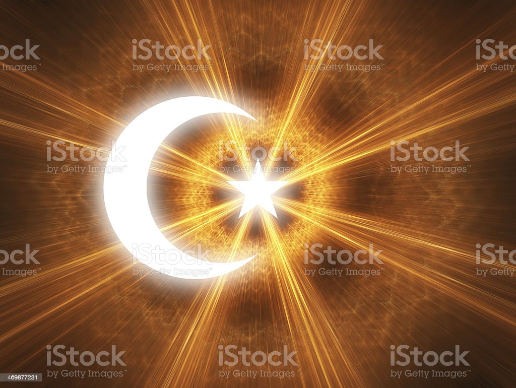 Crescent and star royalty-free stock photo