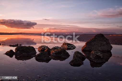 Crescent Beach at sunset in low tide, Surrey, BC, Canada long exposure.