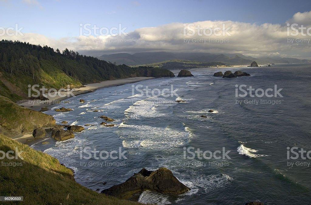 Crescent & Cannon Beaches & Haystack Rock - Oregon Coastline stock photo