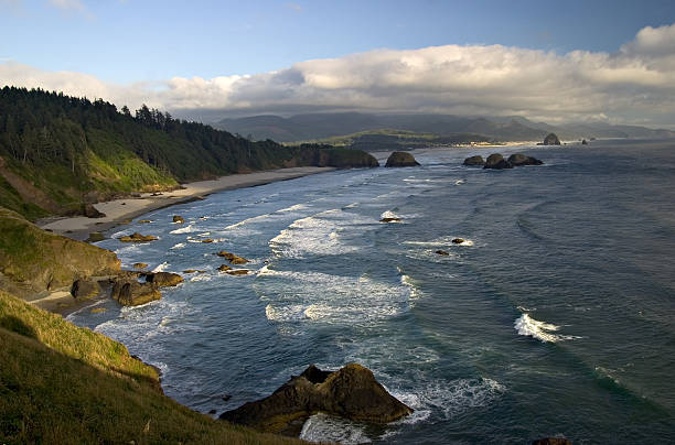 Crescent & Cannon Beaches & Haystack Rock - Oregon Coastline stock photo